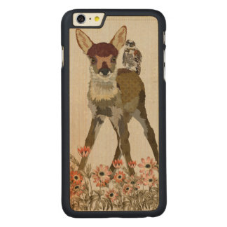 FLORAL FAWN & OWL Carved iPhone Case