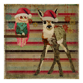 Floral Fawn & Owl Christmas Art Poster