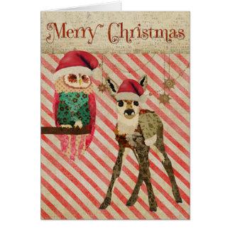 Floral Fawn & Rosa Owl Christmas Card