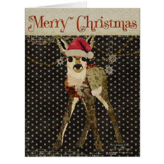 Floral Fawn Starry Christmas Card