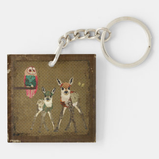 Floral Fawns & Rosa Owl Keychain