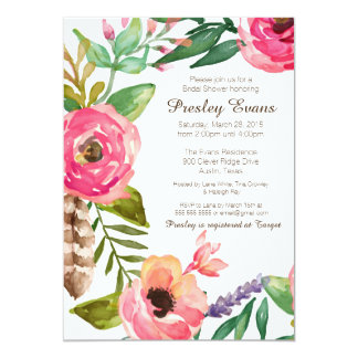 Floral & Feather Bridal Shower Invitation II