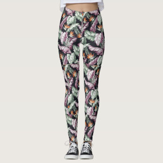 Floral Feather Print Leggings