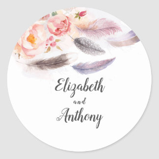 Floral Feathers Elegant Boho Classic Round Sticker