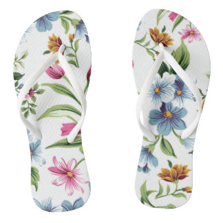 Floral feminine slipper thongs