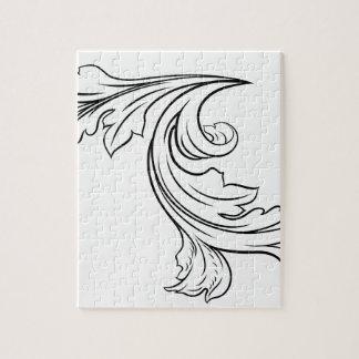 Floral Filigree Pattern Scroll Design Jigsaw Puzzle