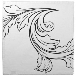 Floral Filigree Pattern Scroll Design Napkin