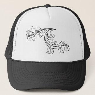 Floral Filigree Pattern Scroll Design Trucker Hat