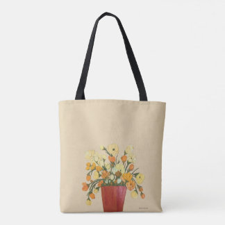 Floral Fine Art Painting in Yellows and Oranges Tote Bag