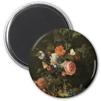 Floral Fine Art with Roses 6 Cm Round Magnet