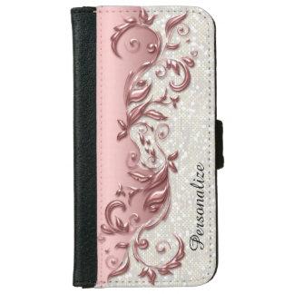 Floral Florid Rose Metallic White Confetti iPhone 6 Wallet Case