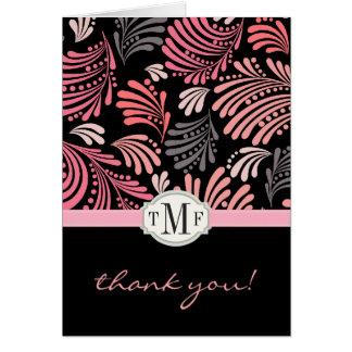 Floral Flourish Monogram Thank You Card