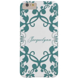 Floral Flourish Teal Peacock Custom Name Casing Barely There iPhone 6 Plus Case