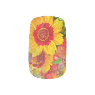 Floral Flower Abstract Art Red Yellow Blue Blossom Minx Nail Art