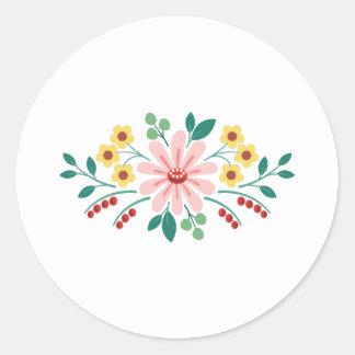 Floral Flower Border Classic Round Sticker