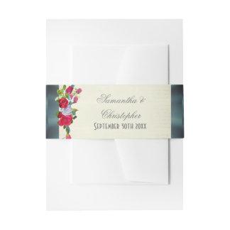 Floral flower bouquet garden wedding invitation belly band