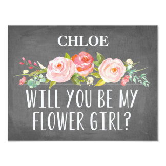 Floral Flower Girl Card