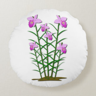 Floral Flowers Custom Personalize Anniversaries Round Cushion