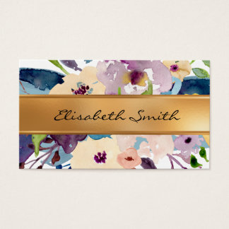 Floral, Flowers faux gold foil Business Card