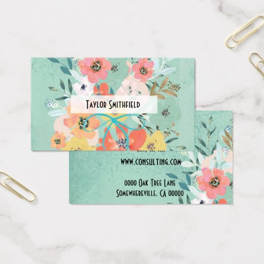 floral flowers vintage wallpaper business card