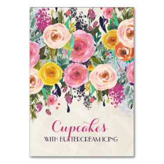 Floral Food Tent Cards