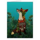 floral fox card