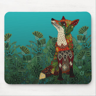floral fox mouse pad
