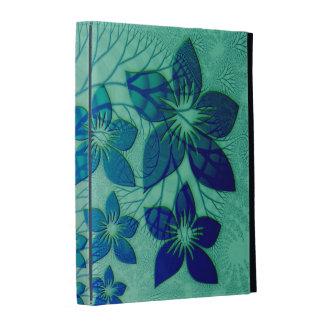 Floral Fractal Design In Blue iPad Folio Case