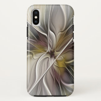 Floral Fractal, Fantasy Flower with Earth Colors iPhone X Case