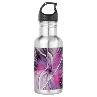 Floral Fractal Modern Abstract Flower Pink Gray 532 Ml Water Bottle