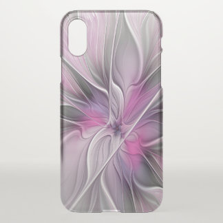 Floral Fractal Modern Abstract Flower Pink Gray iPhone X Case