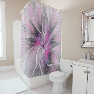 Floral Fractal Modern Abstract Flower Pink Gray Shower Curtain