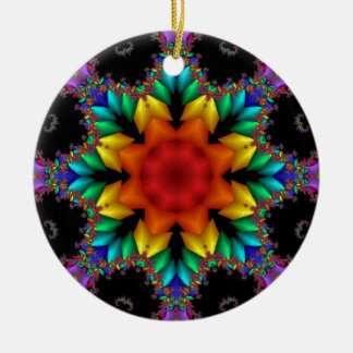 Floral Fractal Round Ceramic Decoration
