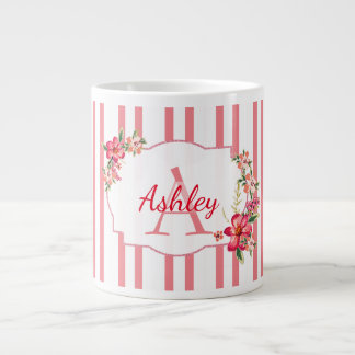Floral Frame And Stripes Large Coffee Mug