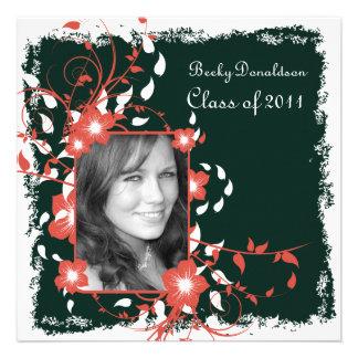 Floral Frame Black and White Graduation Invite