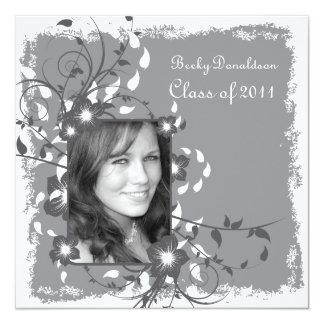 Floral Frame Desaturated Graduation Invite