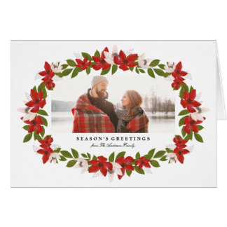 Floral Frame Folded Holiday Greeting Card