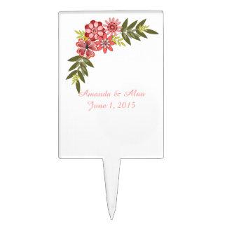 Floral Frame Pink Wedding Cake Topper