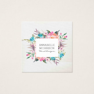 Floral Frame Watercolor Business Card