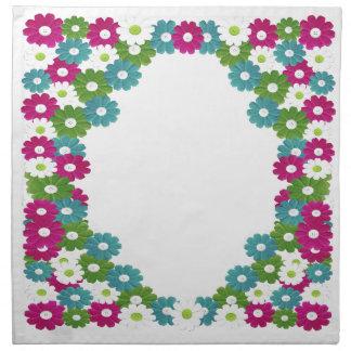 Floral Frame with Custom Name Napkin