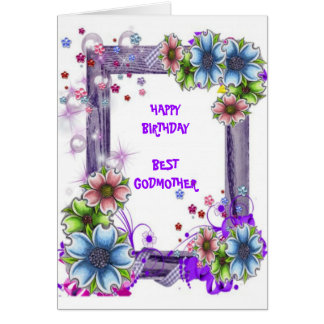 Floral Framed Godmother Card