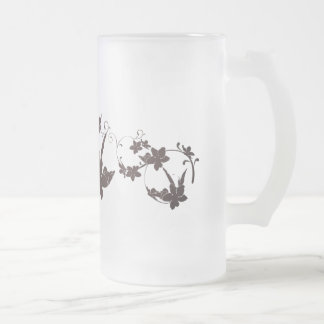 Floral Frosted Glass Beer Mug