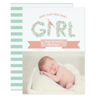 Floral Garden Baby Girl   Birth Announcement