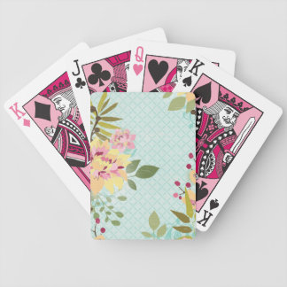 Floral Garden, Blue Background Bicycle Playing Cards