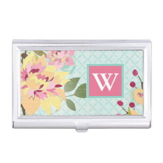 Floral Garden, Blue Background Business Card Holder