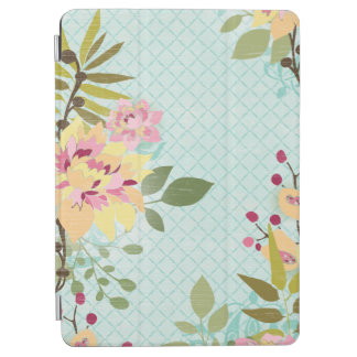 Floral Garden, Blue Background iPad Air Cover