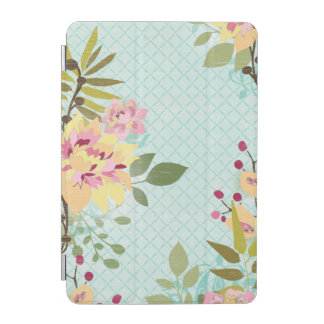 Floral Garden, Blue Background iPad Mini Cover