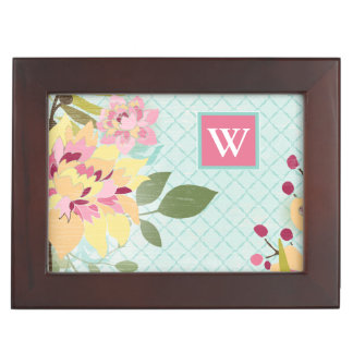 Floral Garden, Blue Background Keepsake Box