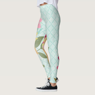 Floral Garden, Blue Background Leggings