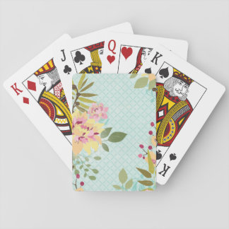 Floral Garden, Blue Background Playing Cards